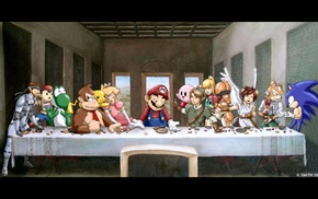The Last Supper, painting, digital art, The Legend of Zelda, Super Mario, table