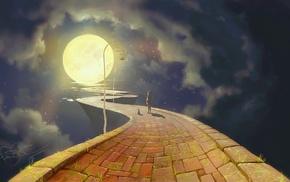 stars, night, cat, clouds, moon, grass