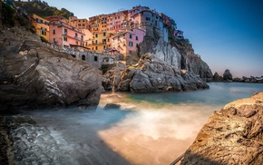 Manarola, coast, town, Italy, city, shadow