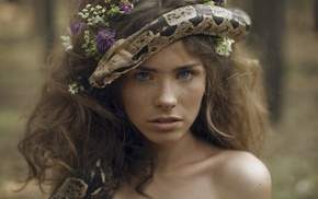 girl, model, portrait, snake