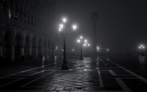night, old building, Venice, monochrome, Italy, lights