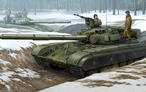 Russia, forest, military, snow, artwork, T