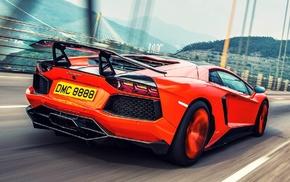 road, bridge, Lamborghini Aventador, car, Lamborghini, motion blur