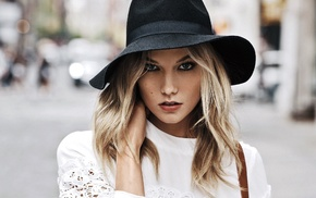 hat, blue eyes, Karlie Kloss, face, model, blonde