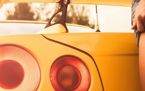 ass, Nissan Skyline, triple screen, girl, Nissan Skyline GT, R R34
