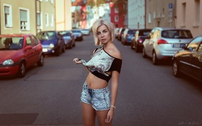 blonde, T, shirt, road, girl, jean shorts