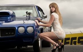 girl with cars, girl, ass, white dress, squatting, car