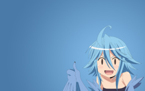 anime, simple background, Monster Musume no Iru Nichijou, anime girls, blue background, Papi Monmusu