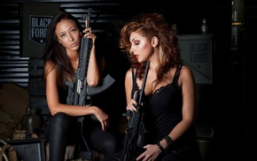 weapon, girl, AK, 47, black rifle, tactical