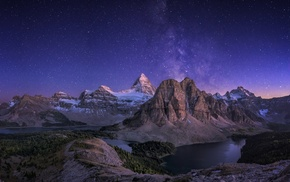 nature, panoramas, mountain, starry night, landscape, lake