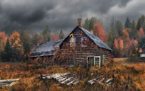clouds, trees, nature, dry grass, Hansel and Gretel, fall