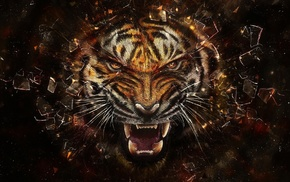 tiger, teeth, digital art, broken glass, face, glass