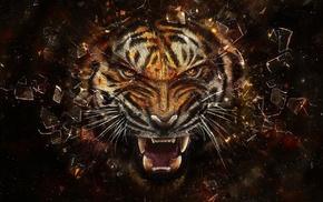 digital art, teeth, animals, glass, artwork, broken glass