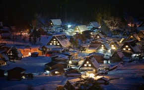 Shirakawa, go, snow, nature, trees, night