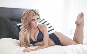 girl, in bed, ass, legs up, blonde, sensual gaze