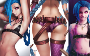 purple eyes, biting lip, tattoo, blue hair, League of Legends, video game girls