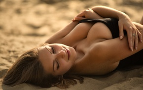 no bra, girl, blonde, arms on chest, beach, sand