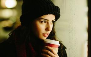 woolly hat, brunette, girl, face, drink, hat