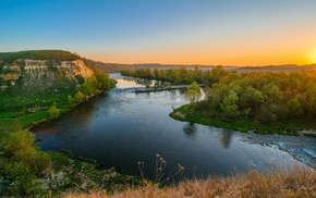 nature, trees, landscape, clear sky, sunset, river