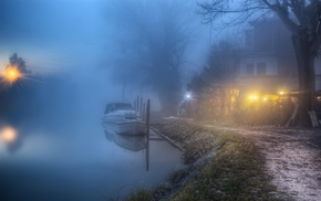 path, atmosphere, nature, trees, landscape, mist
