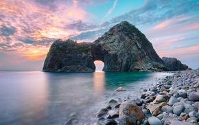 stones, sea, Japan, nature, gates, water