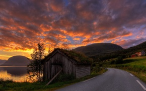 grass, clouds, hut, nature, road, Norway