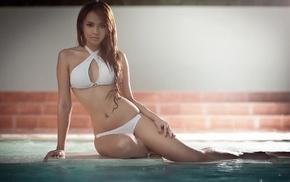 girl, swimming pool, Asian, water, model, thighs