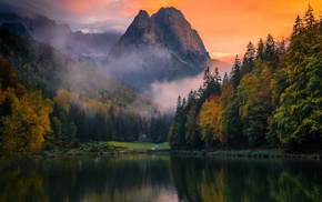 Germany, mountain, trees, sunset, water, mist