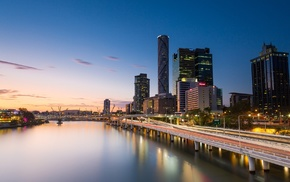 city, Brisbane, Australia, sunset, river, cityscape