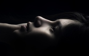 dark hair, black background, lips, dark, profile, photography