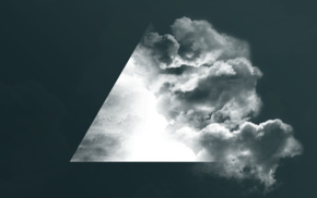 geometry, digital art, simple background, clouds, monochrome, triangle
