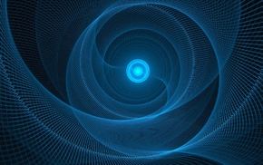 abstract, minimalism, glowing, digital art, blue, circle