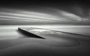 clouds, long exposure, landscape, nature, wooden surface, sea