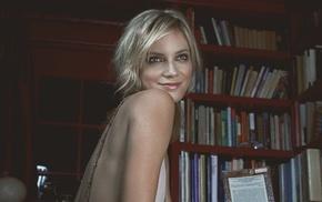 actress, looking away, smiling, long hair, model, library