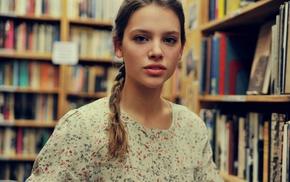 braids, library, books, model, girl, portrait
