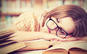 shelves, sleeping, girl with glasses, closed eyes, hand, checkered