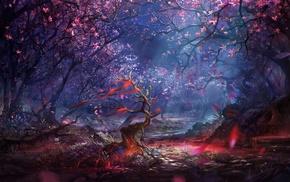 trees, landscape, artwork, colorful, digital art, fantasy art
