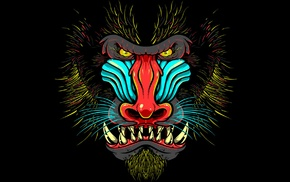 Mandrill, animals, yellow eyes, black background, muzzles, drawing