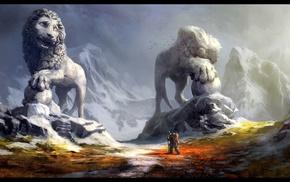 warrior, statue, lion, road