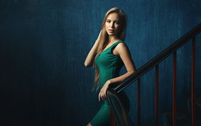 girl, stairs, blonde, dress, walls, portrait