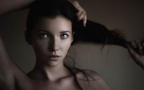 face, portrait, hands in hair, girl
