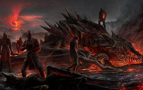 vulcano, sword, DeviantArt, dragon, smoke