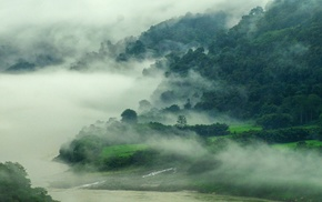 river, nature, landscape, India, mountain, mist