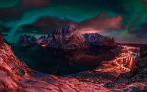 Lofoten, nature, lights, fjord, starry night, cold