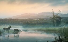 painting, Ukraine, horse, windmills