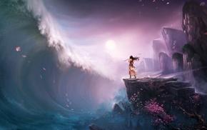 mountain pass, anime girls, sea, anime, lotus flowers, digital art