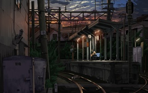 train station, anime girls, night