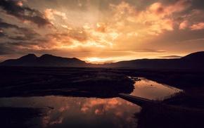 silhouette, bridge, landscape, river, nature, clouds