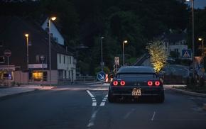 street light, Stance, nature, Nissan, BBS, midnight