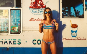 girl with glasses, ice cream, vehicle, model, brunette, flat belly